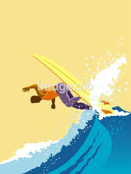 An illustration of a surfer