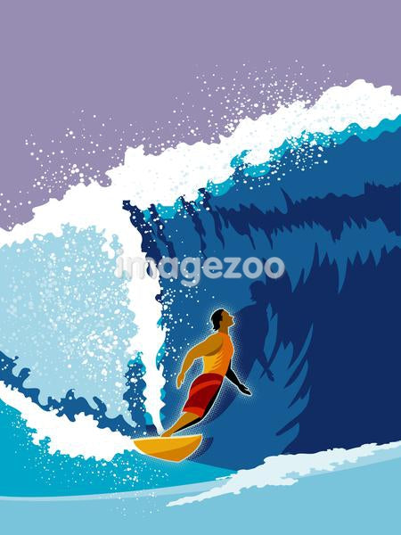 A man surfing a giant wave