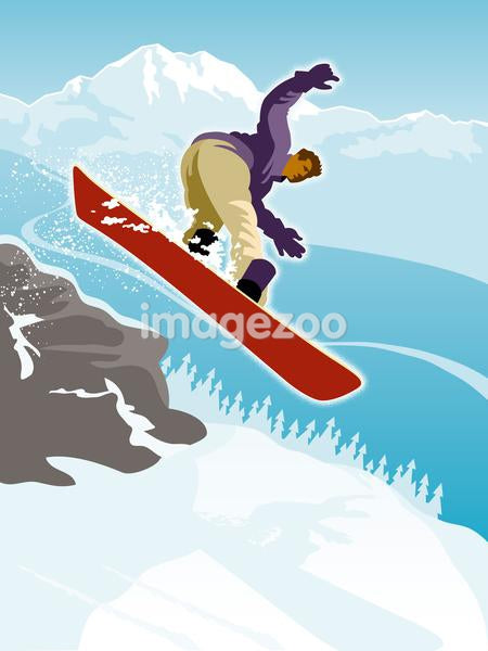 A man doing a snowboarding jump