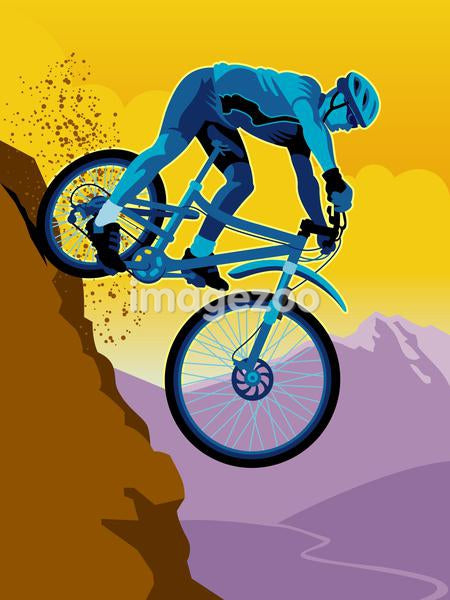 A man mountain biking downhill