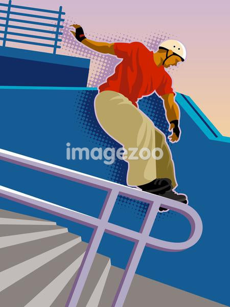 A in-line skater sliding down a railing