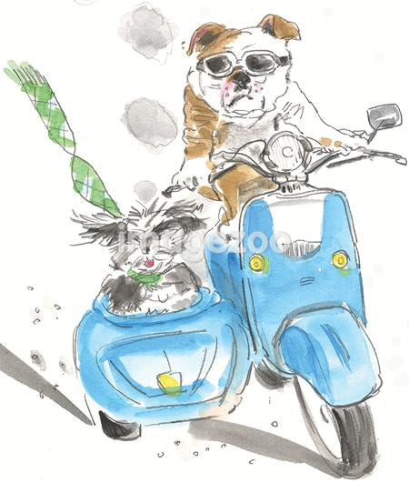 A watercolor painting of two dogs riding on a motorbike