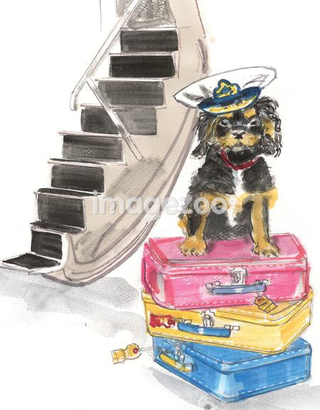 A watercolor painting of a King Charles Cavalier wearing a pilots hat sitting on top of a stack of suitcases