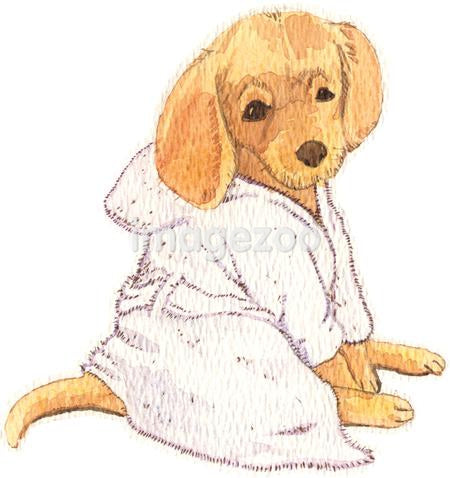 A watercolor painting of a Golden Retriever puppy wearing a dressing gown