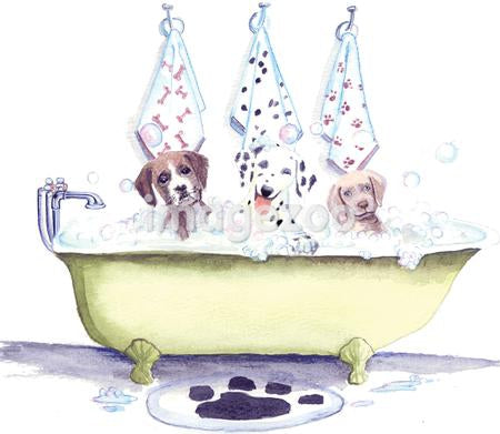 A watercolor painting of three dogs sharing a bubble bath