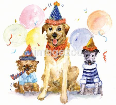 A watercolor painting of three dogs celebrating at a birthday party
