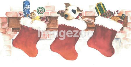 A watercolor painting of a puppy in a Christmas stocking