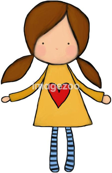 A little girl in pig tails with a heart on her dress