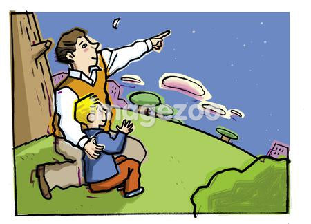 A father pointing out stars to his little boy