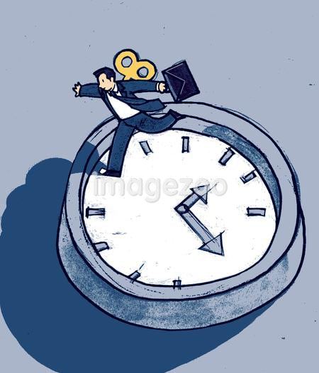 A wind-up man racing around a clock