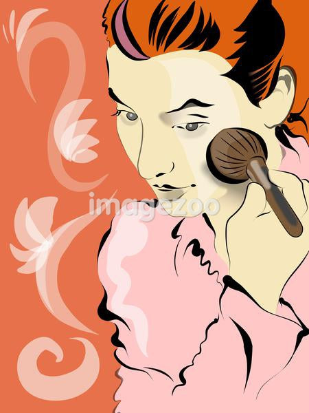 woman putting on blush