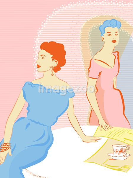 A retro inspired illustration of two women in dresses