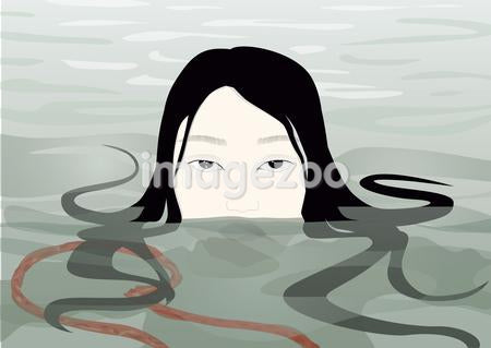A woman with her head above water