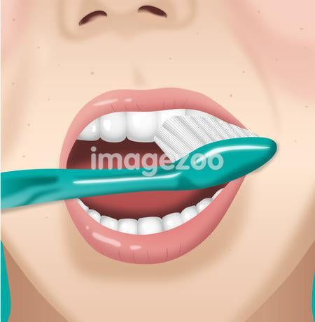 A person brushing their teeth