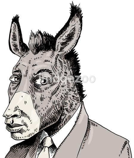 Businessman with donkey's head