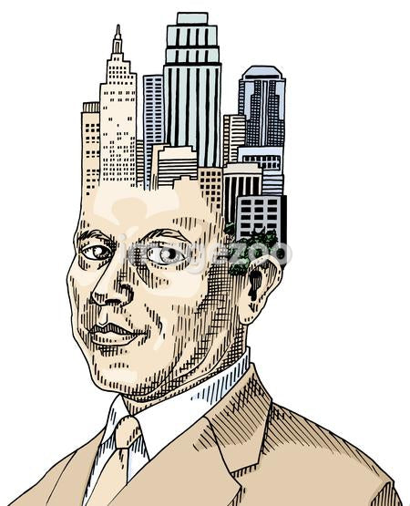 Businessman with cluster of buildings on his head