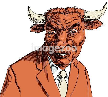 Businessman with bull's head