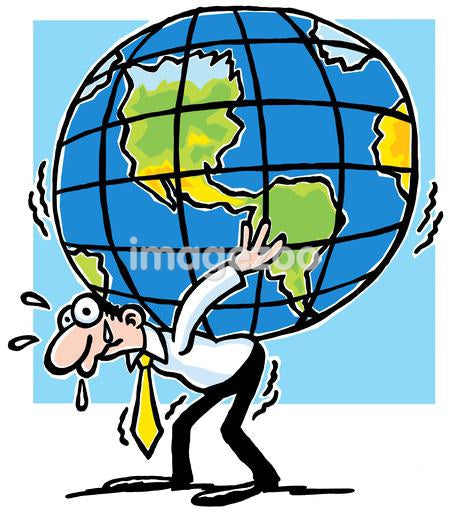 A cartoon drawing of a man struggling to hold a large world globe