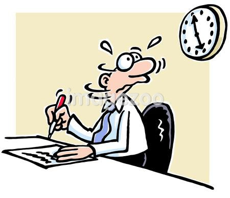 A cartoon drawing of a nervous looking man at a work desk looking at a clock