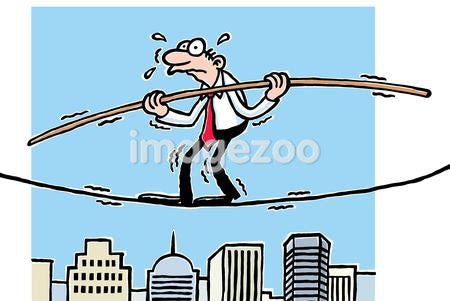 A cartoon drawing of a man walking across a tightrope above tall buildings