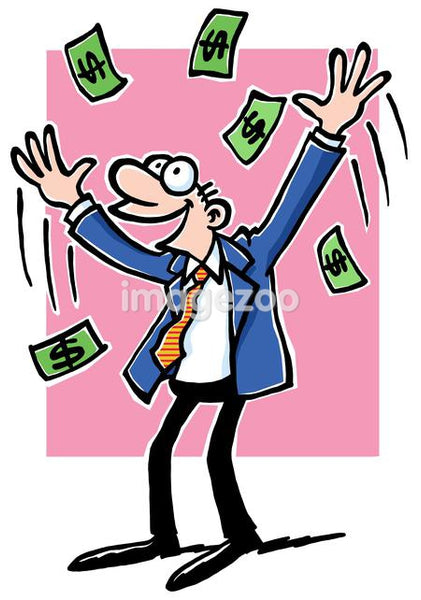 A cartoon drawing of a business man throwing dollar bills above his head happily