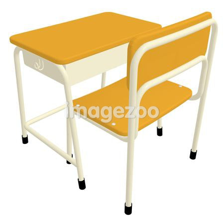 A 3D style image of a school desk