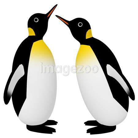 A 3D style image of two penguins