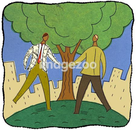 Two businessmen shaking hands under a tree