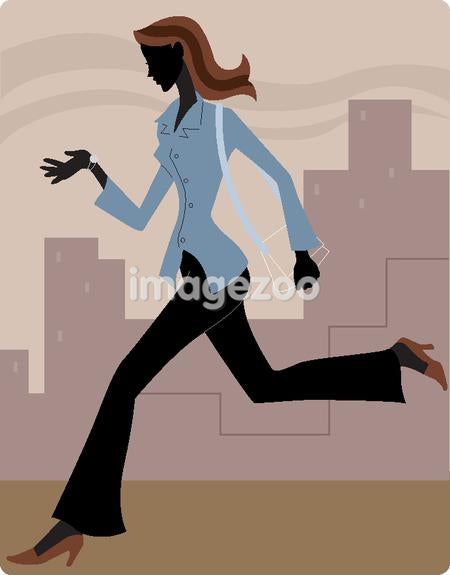 Businesswoman running late and looking at her watch
