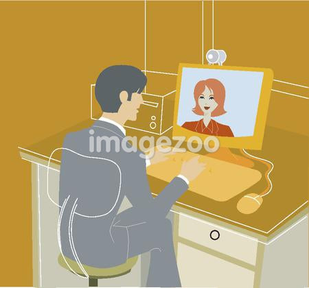 An illustration of a businessman having an online meeting