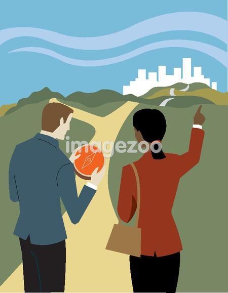 Businessman holding a compass and asking a businesswoman for directions