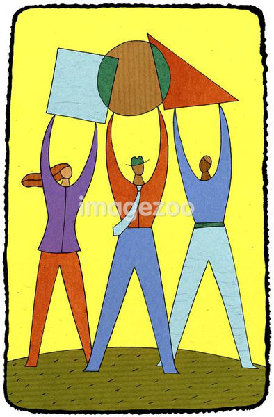 business people holding up different shapes