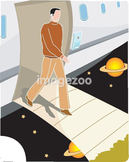 Man disembarking a space ship