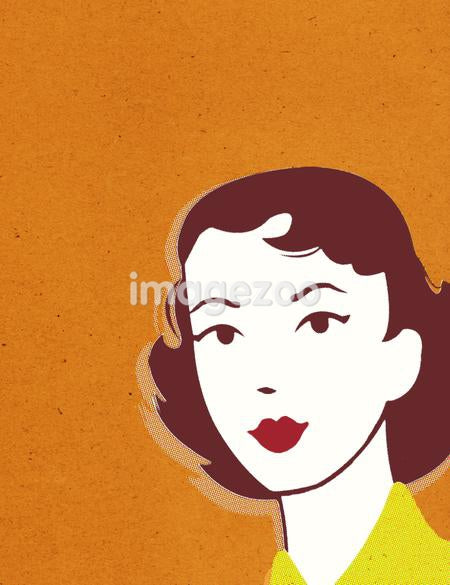 Retro gal with orange background