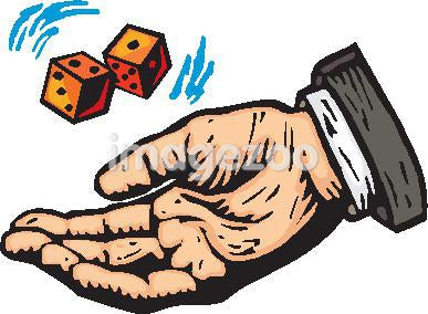 A hand tossing a pair of dice