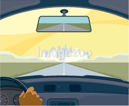 View from the inside of a car on a highway