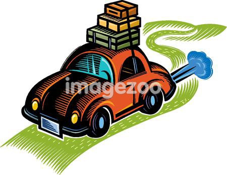 A graphic representation of a car packed up for a road trip