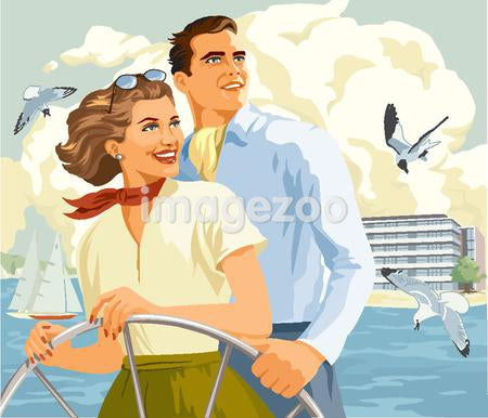 A picture of a happy couple on a sailboat
