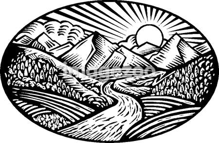Oval shaped nature scene of mountains, hills and stream, black and white
