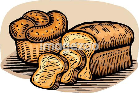 A drawing of loaves of bread