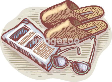 An illustration of slippers, glasses, and newspaper