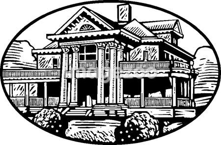 An black and white illustration of a colonial mansion