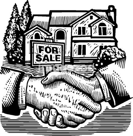 Shaking hands in front of a real estate sold sign, black and white