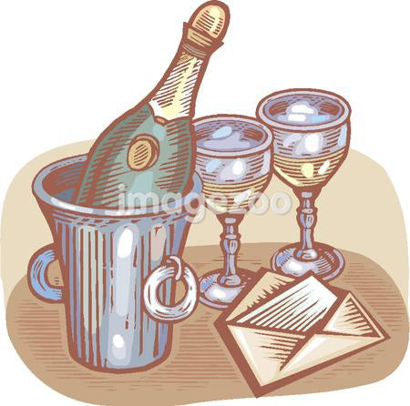 A bottle of champagne and glasses shown with a card