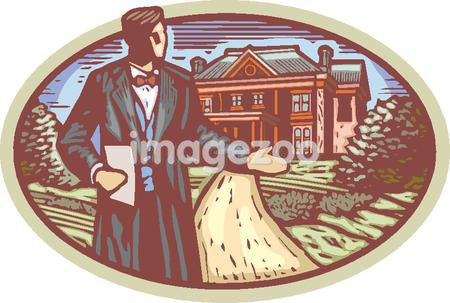 Formal usher at the front of a mansion