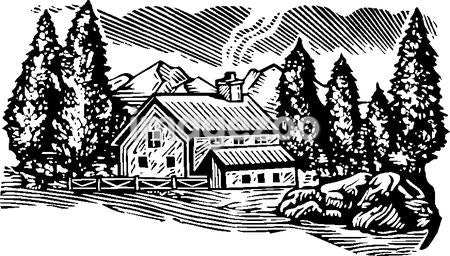 Cabin in the woods, black and white