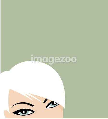 A stylish woman with white hair on green background