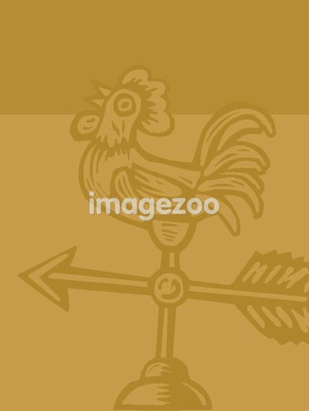 Illustration of a rooster weathervane