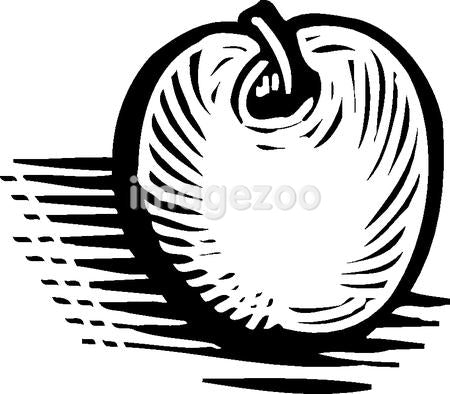 A pictorial representation of an apple in black and white