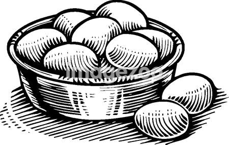 A Basket of eggs in black and white